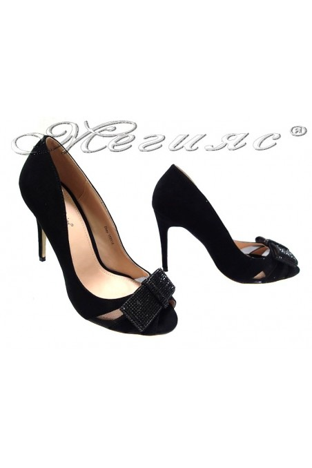 Women elegant shoes 155518 high heel black shining