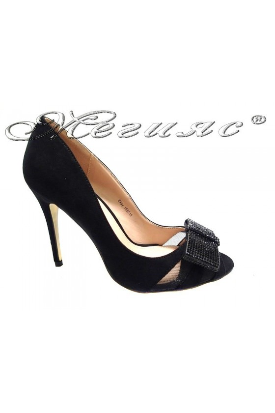 Women elegant  shoes 155518 high heel black shining