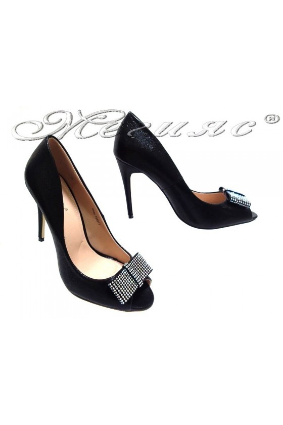 Women elegant shoes 155517 high heel black shining