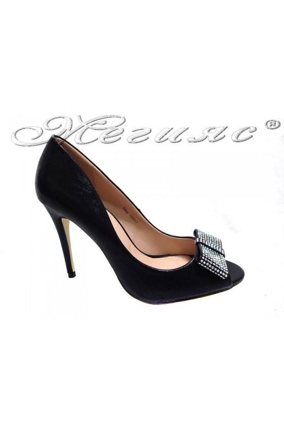 Women elegant  shoes 155517 high heel black shining