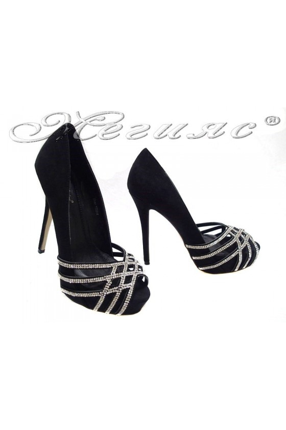 Lady elegant shoes 155511 black high heel suede shining
