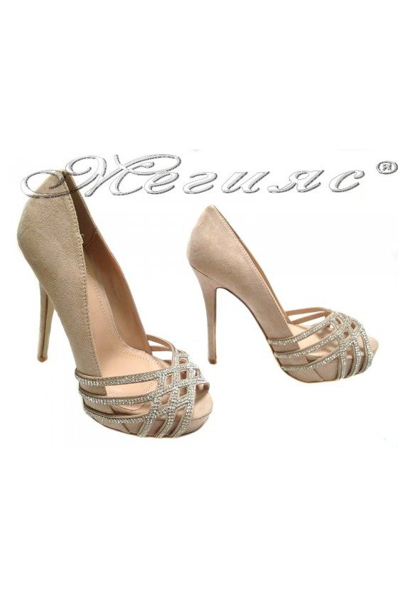 Lady elegant shoes 155511 beige high heel suede shining