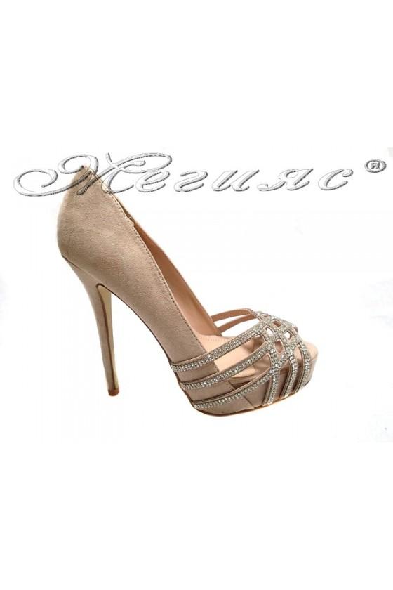 Lady elegant  shoes 155511 beige high heel suede shining