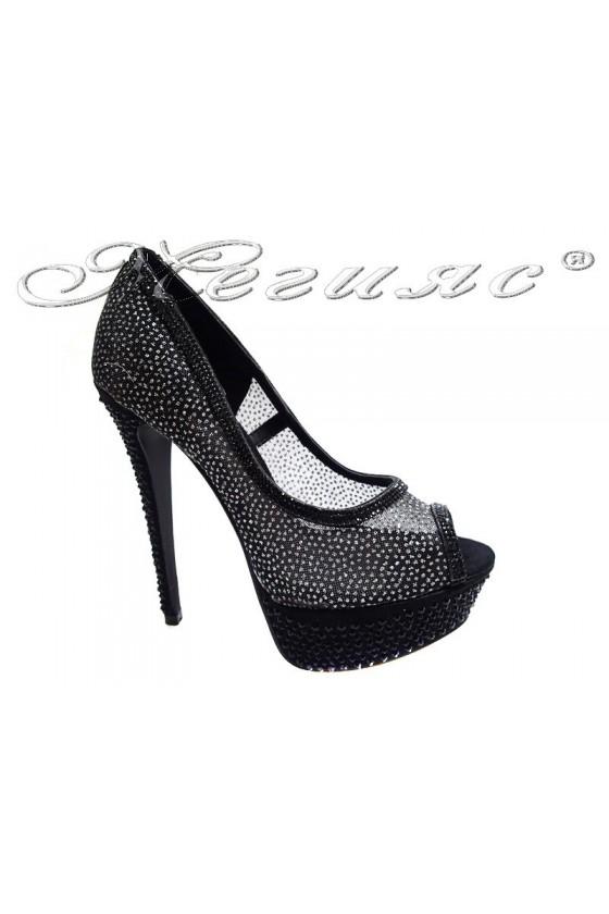 Lady elegant  shoes 155510 black high heel pu shining