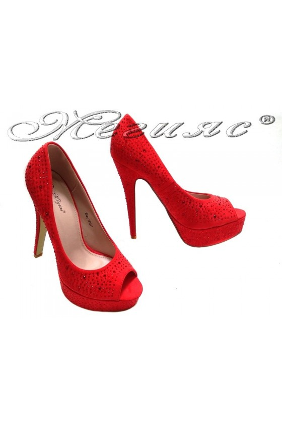 Women elegant shoes 155501 red high heel suede stones