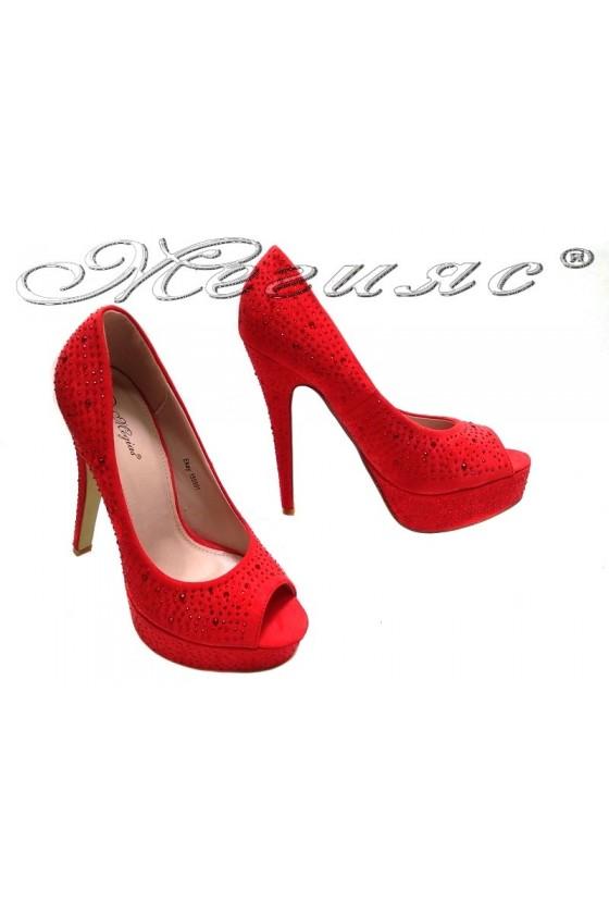 Women elegant  shoes 155501 red high heel suede stones