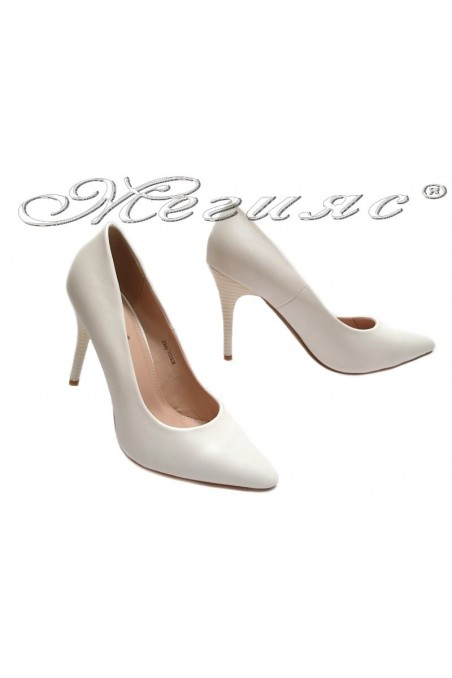 Lady elegant shoes 155528 white high heel pu