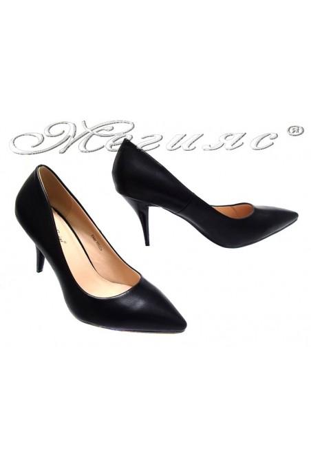 Lady elegant shoes 155524 black middle heel pu