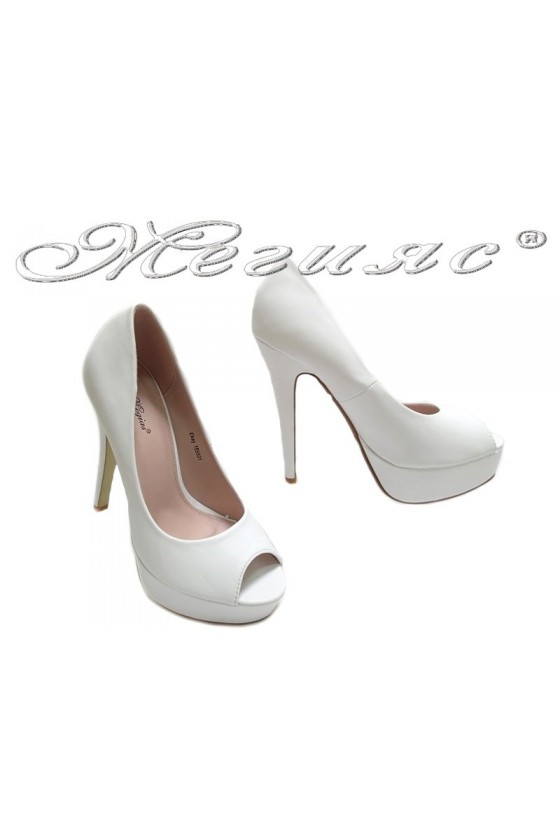 Lady elegant shoes 155501 white high heel pu