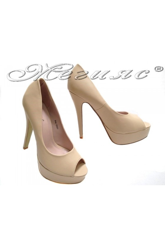 Lady elegant shoes 155501 beige high heel pu