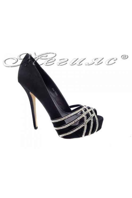 Дамски обувки EKAY 155511 черни елегантни без пръсти платформа висок ток велур камъни блестящи