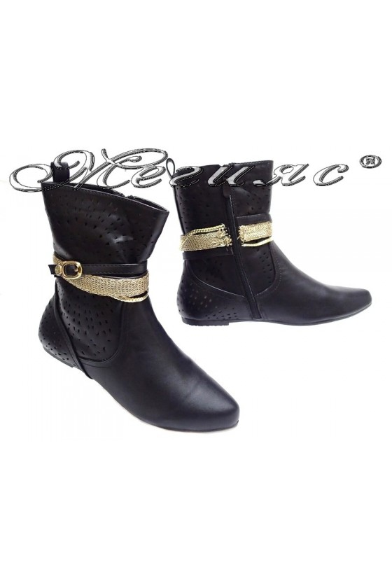 Lady summer boots 155082 black pu flat