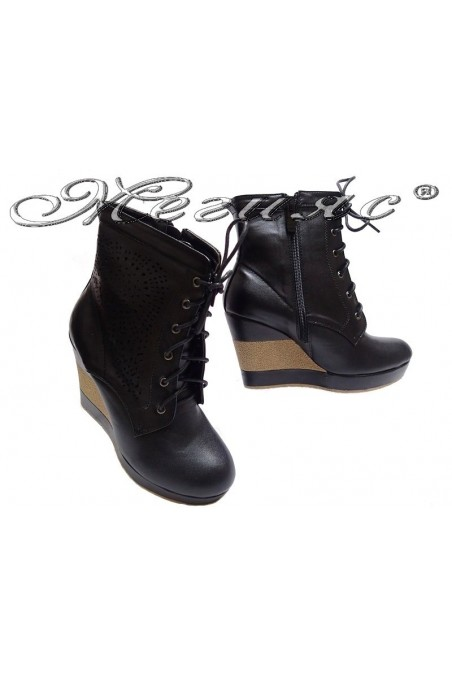 Lady summer boots 155084 black pu platform