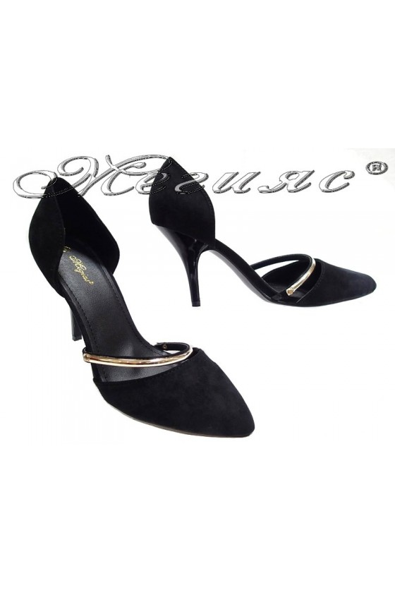 Lady elegant shoes 155051 black middle heel suede