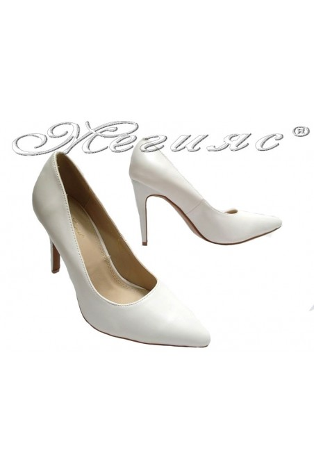 Women elegant shoes 155063 white high heel pu