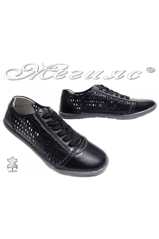 Women sport shoes 155015 black leather holes
