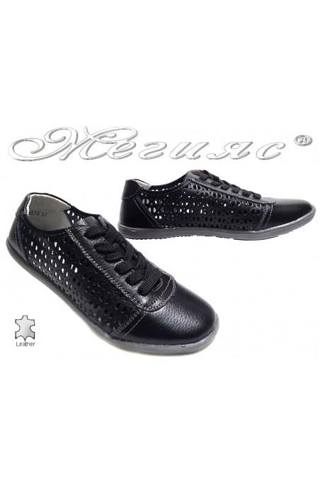 Women sport shoes 155015 black leather holes