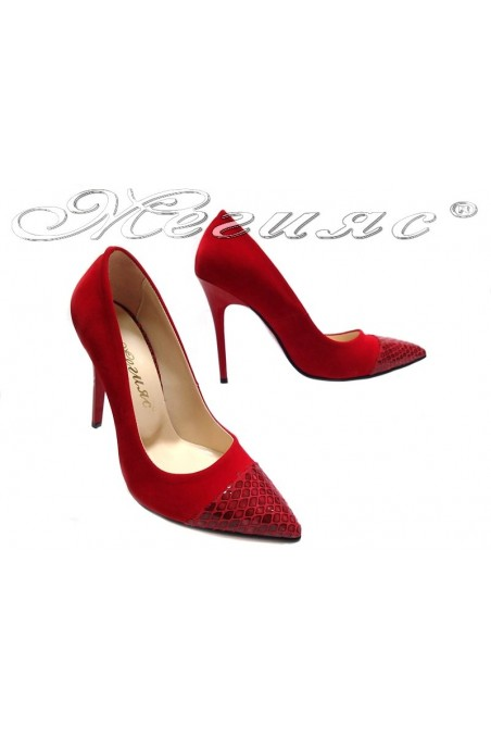 Lady elegant shoes 106 red high heel suede