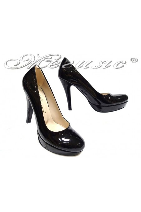 Lady elegant shoes 01703 black high heel patent