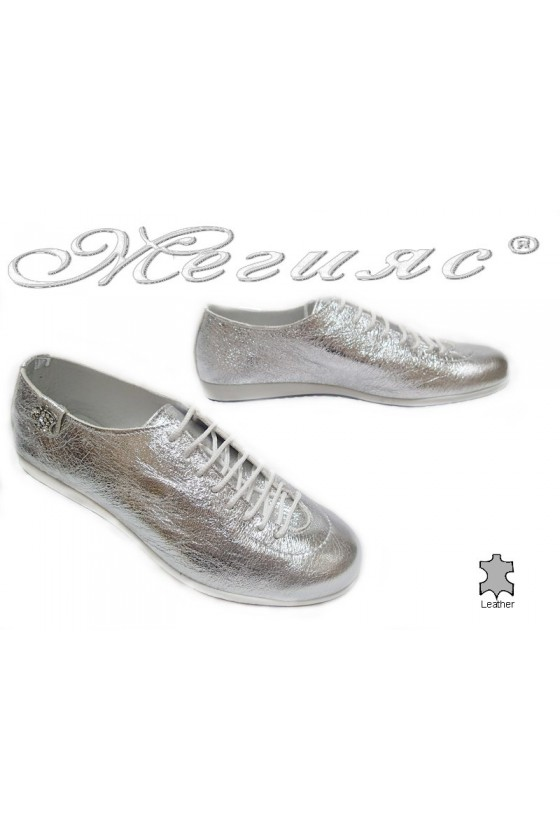 Women sport shoes 3116 silver leather
