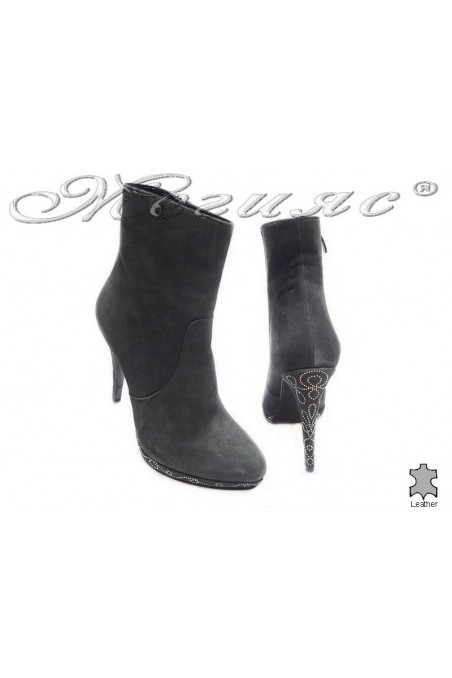 Women ankle boots 2328-4451 high heel grey suede leaher