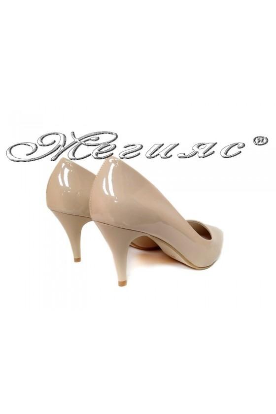 Women elegant  shoes 2016 beige middle heel pu