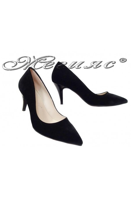 Women elegant shoes 2016 black middle heel pu