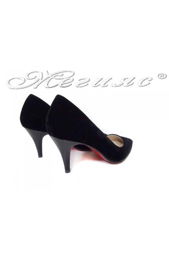Women elegant  shoes 2016 black middle heel pu
