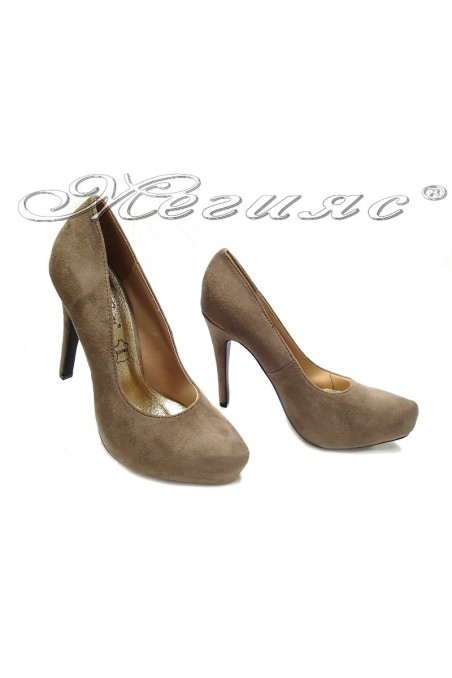 Lady elegant shoes 155416 beige high heel pu