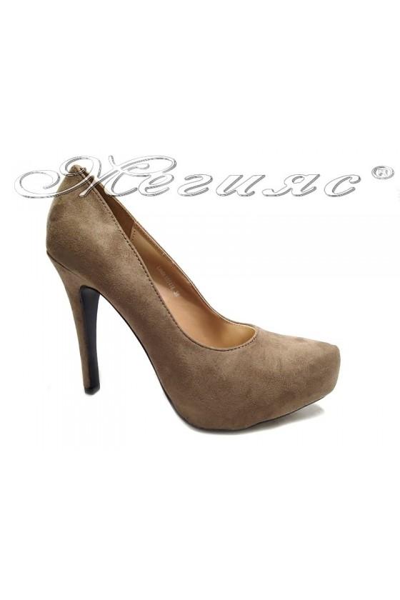 Lady elegant  shoes 155416 beige  high heel pu