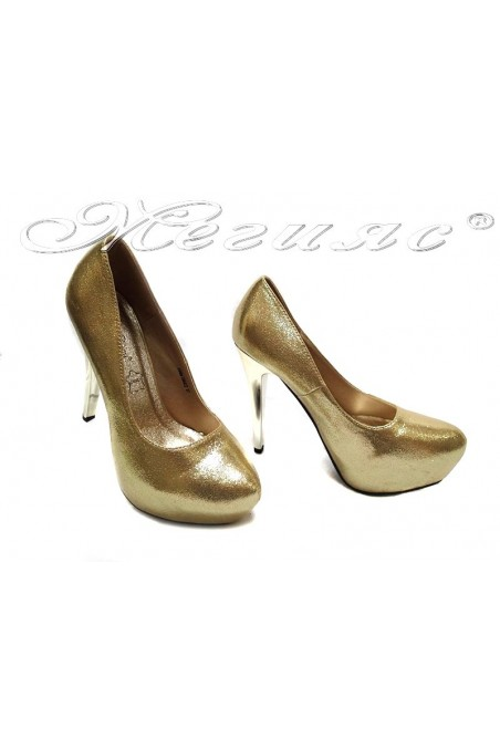 Women shoes 155422 gold high heel