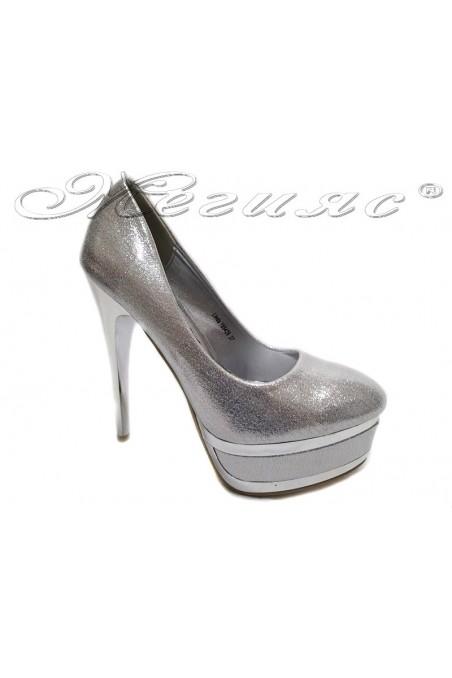 Lady elegant shoes 155426 silevr high heel