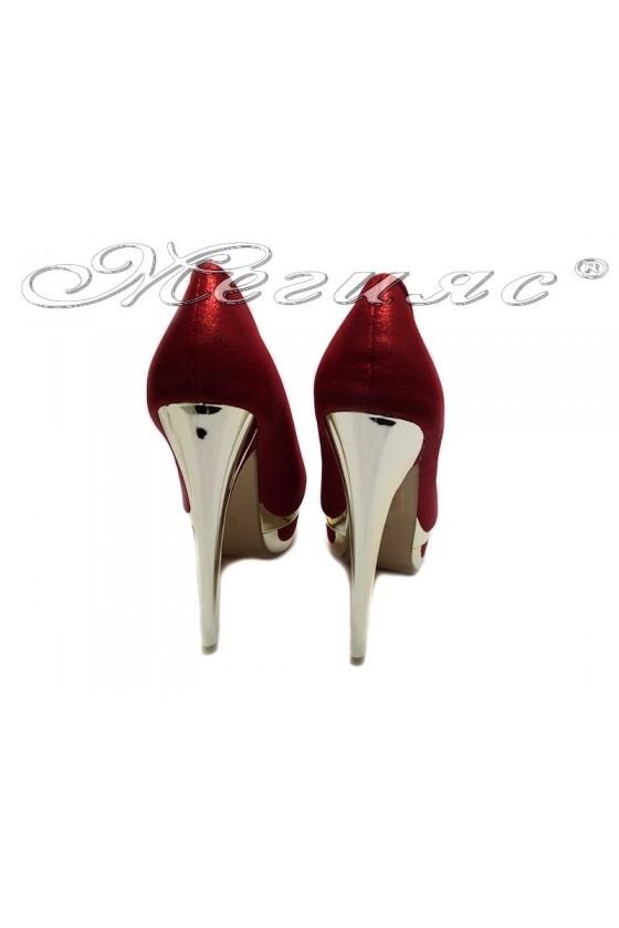 Дамски обувки LINDA 155426 червени елегантни висок ток платформа