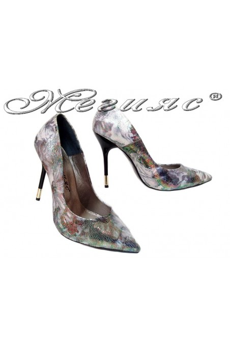 Women elegant shoes 423 silver high heel pu