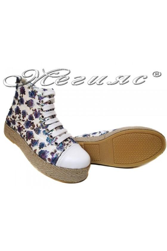 Women sport shoes 01 kec blue flowers pu