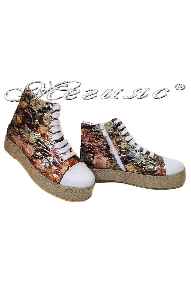 Дамски обувки 01 зелени цветя дантела