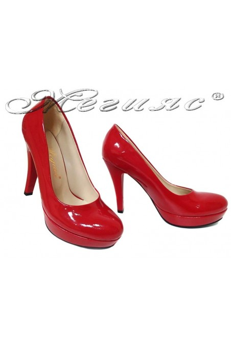 Women elegant shoes 01703 red high heel pu