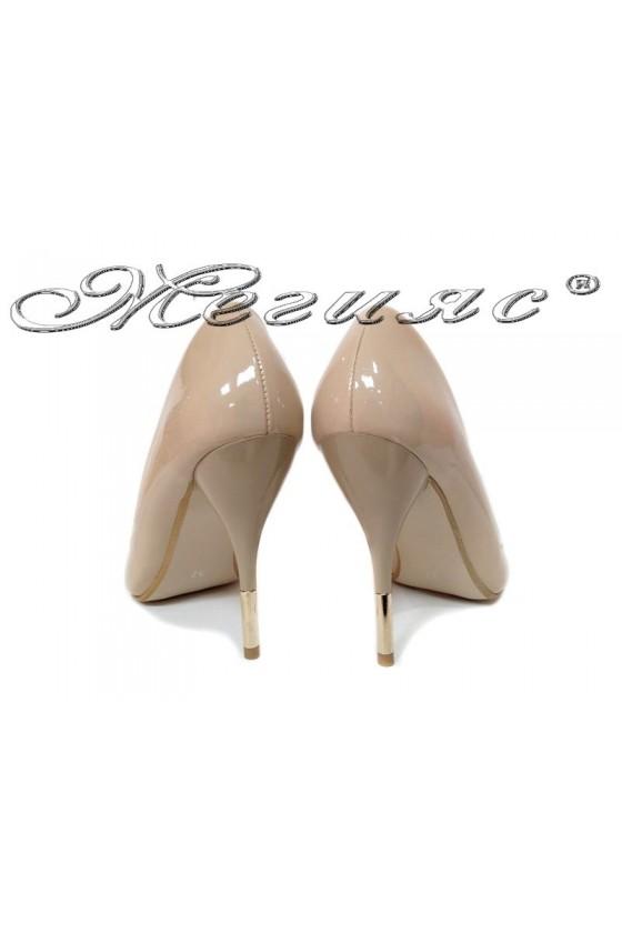 Women elegant  shoes 2016 high heel beige pu
