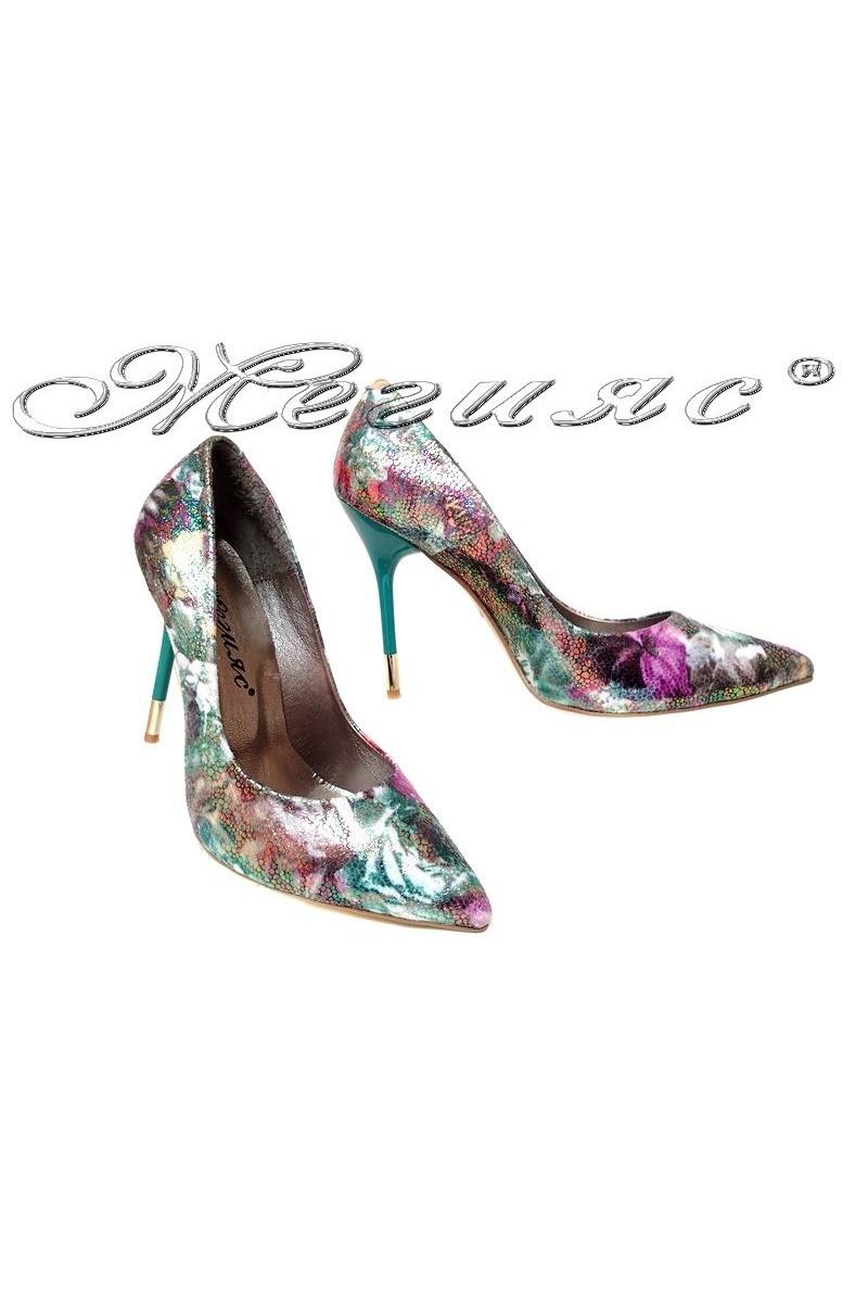 Дамски обувки 423 зелени+цветя