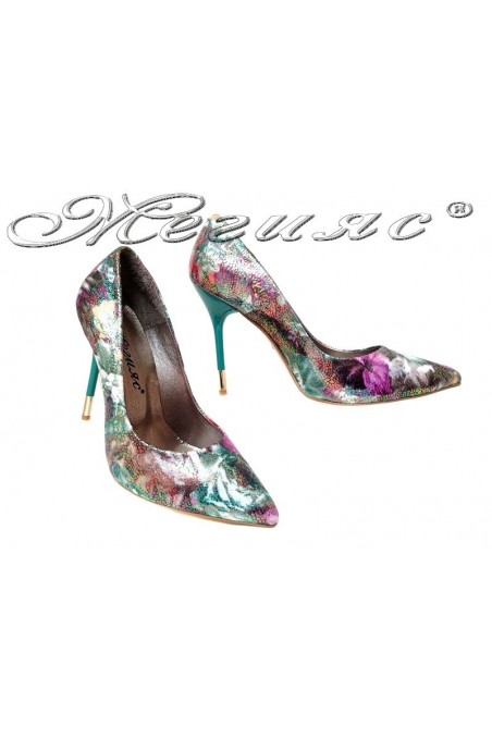 Women elegant shoes 423 green high hell pu