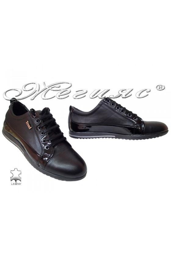 Мъжки обувки Тренд 25 черни естествена кожа+лак
