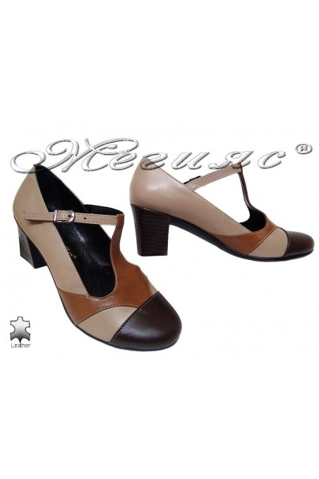Women middle heel casual shoes 201/207 beige+tab+brown lether