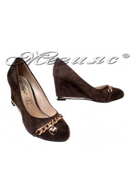 Women platform shoes 155407 brown suede