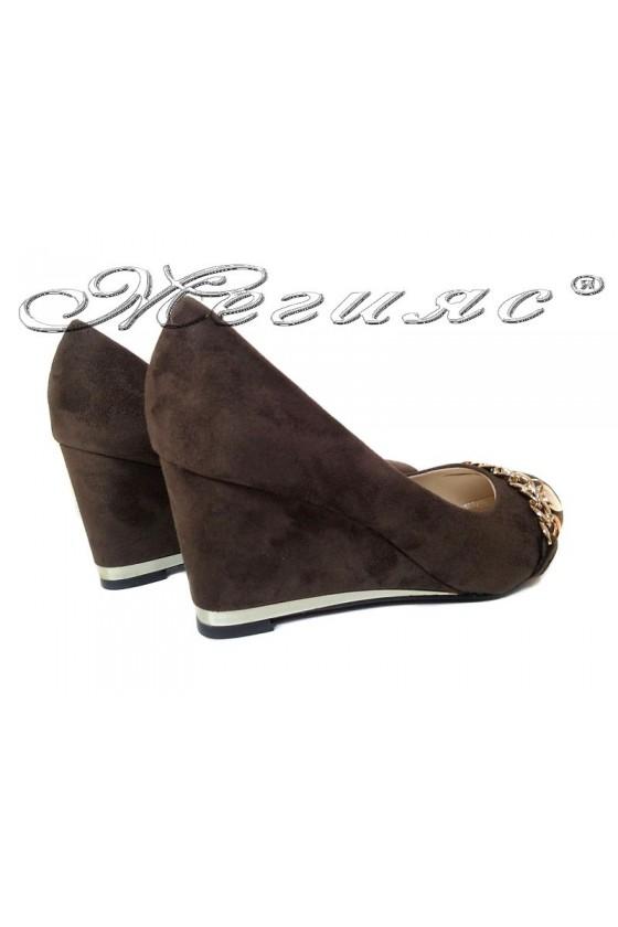 Women platform shoes 155407 brown suede