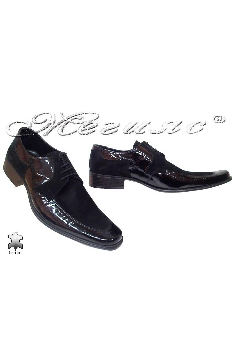 Мъжки обувки Fantazia 277 лак+велур естествен лак