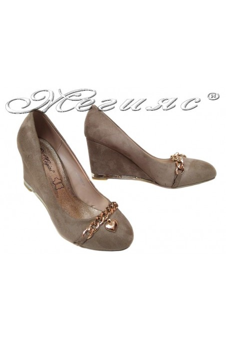 Lady platform shoes 155407 beige suede