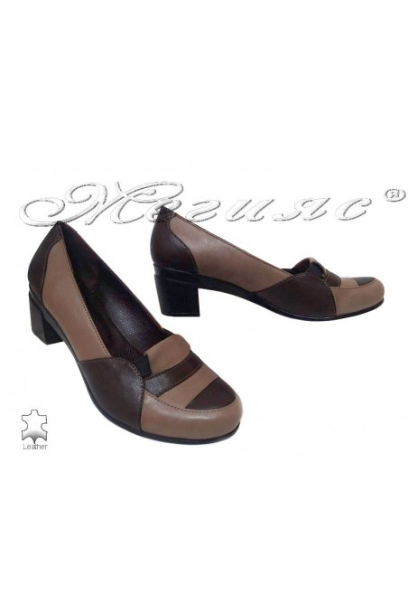 Ladys shoes 352 giant XXL platform casual brown+beige lether