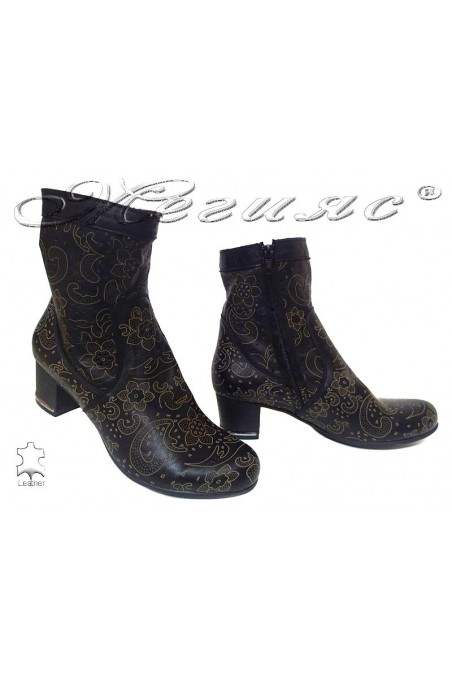Lady summer boots 33/199/650 black leather with average heel
