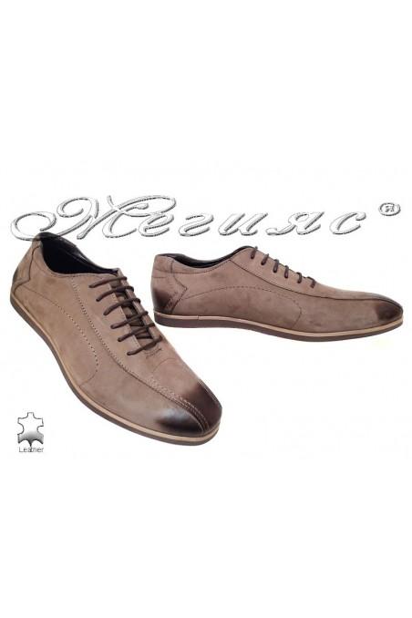 Мъжки обувки Sharp 8501 кафяви естествен набук
