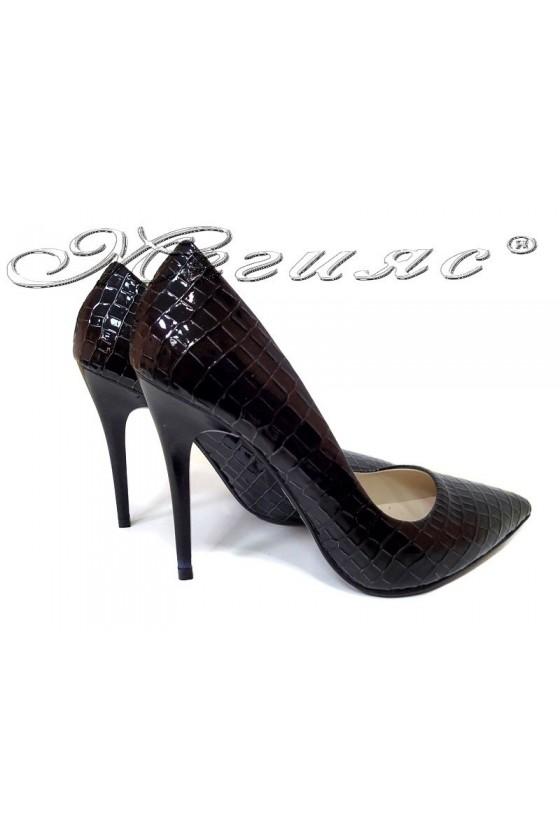 Women elegant  shoes 308 high heel black pu